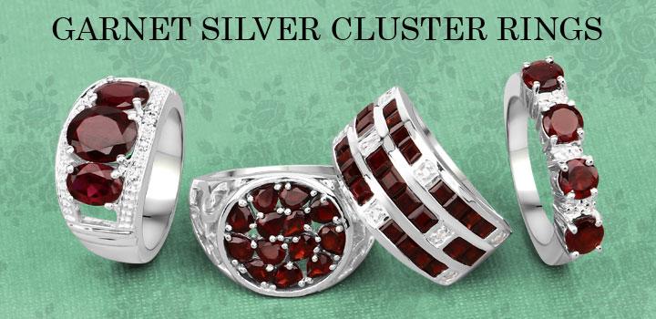 Garnet Silver Cluster Rings