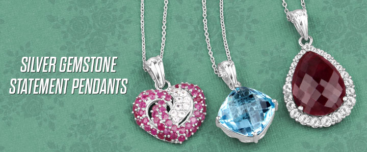 Silver Gemstone Statement Pendant Necklaces!