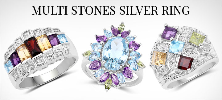 Multi Stones Silver Ring
