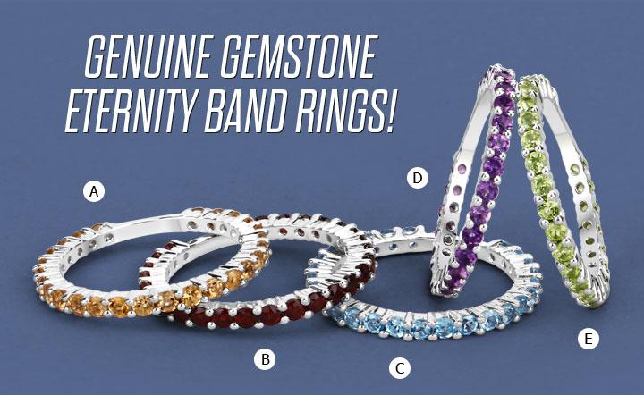 Genuine Gemstone Eternity Band Rings!